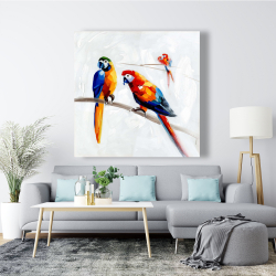 Canvas 48 x 48 - Parrots on a branch