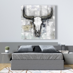 Canvas 48 x 48 - Bull skull on an industrial background