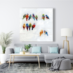 Canvas 48 x 48 - Colorful birds on a wire