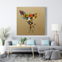 Canvas 48 x 48 - Abstract colorful chihuahua