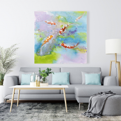 Canvas 48 x 48 - Four koi fish swimming