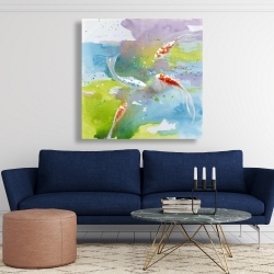 Canvas 48 x 48 - Koi fish in colorful water