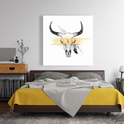 Canvas 48 x 48 - Cow skull with feather