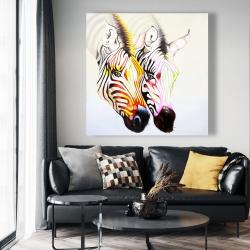 Canvas 48 x 48 - Couple of colorful zebras