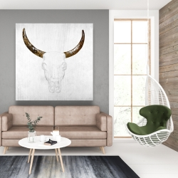 Canvas 48 x 48 - Bull skull with brown horns
