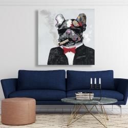 Canvas 48 x 48 - Smoking gangster bulldog