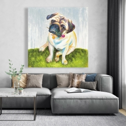 Canvas 48 x 48 - Cute pug with a rose in his mouth