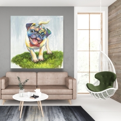 Canvas 48 x 48 - Colorful smiling pug