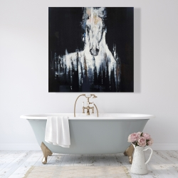 Canvas 48 x 48 - Abstract white horse on black background