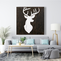 Canvas 48 x 48 - White silhouette of a deer on wood