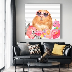 Canvas 48 x 48 - Guinea pig with glasses