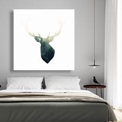Canvas 48 x 48 - Deer head with green landscape shape
