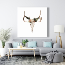 Canvas 48 x 48 - Deer skull with roses