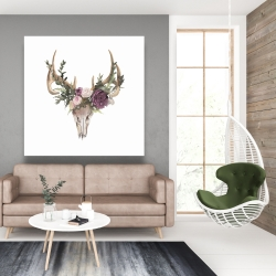 Canvas 48 x 48 - Deer skull with flowers