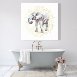 Canvas 48 x 48 - Elephant on mandalas pattern