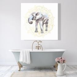 Canvas 48 x 48 - Elephant on mandalas pattern