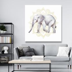 Canvas 48 x 48 - Elephant on mandalas
