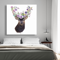 Canvas 48 x 48 - Roe deer head with flowers