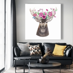Canvas 48 x 48 - Deer head with flowers