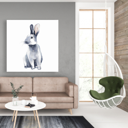 Canvas 48 x 48 - Gray curious rabbit