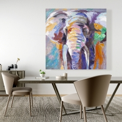 Canvas 48 x 48 - Elephant in pastel color