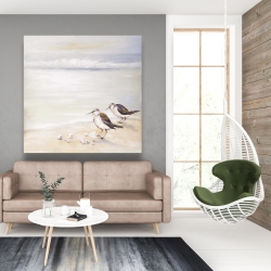 Canvas 48 x 48 - Two sandpipers on the beach
