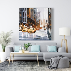 Canvas 48 x 48 - Big city street with yellow taxi
