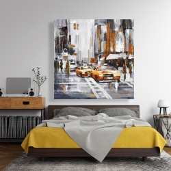 Canvas 48 x 48 - Abstract citystreet with yellow taxis