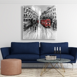 Canvas 48 x 48 - Black and white street with red bus