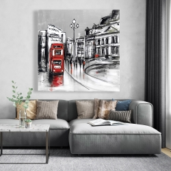 Canvas 48 x 48 - Abstract gray city with red bus