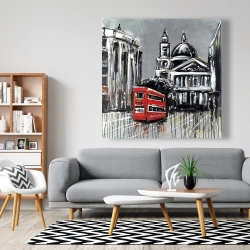 Canvas 48 x 48 - London street with red bus