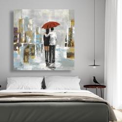 Canvas 48 x 48 - Couple walking under their umbrella