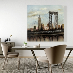 Canvas 48 x 48 - City bridge by a cloudy day