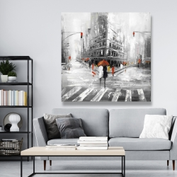 Canvas 48 x 48 - Gray city street with red accents