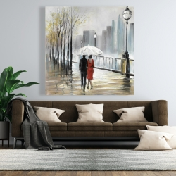 Canvas 48 x 48 - Couple walking under the rain
