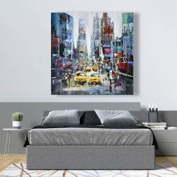 Canvas 48 x 48 - Urban scene with yellow taxis