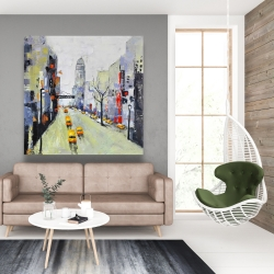 Canvas 48 x 48 - Gray street with yellow and red accents