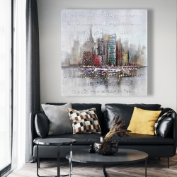 Canvas 48 x 48 - Cityscape with typography in relief