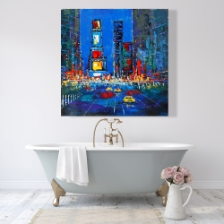 Canvas 48 x 48 - Colorful and abstract times square by night