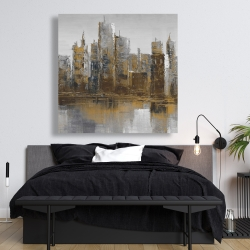 Canvas 48 x 48 - Gray and yellow cityscape