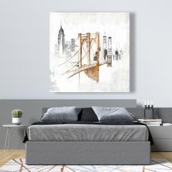 Canvas 48 x 48 - Brooklyn bridge blurry sketch