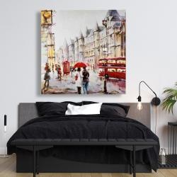 Canvas 48 x 48 - European street by a rainy day