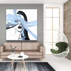 Canvas 48 x 48 - Abstract blue woman portrait