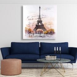 Canvas 48 x 48 - Eiffel tower sketch with an handwritten message
