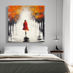 Canvas 48 x 48 - Woman with a red coat by fall