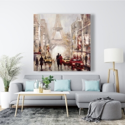 Canvas 48 x 48 - Busy street of paris with eiffel tower