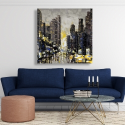 Canvas 48 x 48 - Abstract and texturized city with yellow taxis