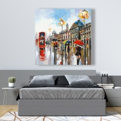 Canvas 48 x 48 - Colorful street with red bus