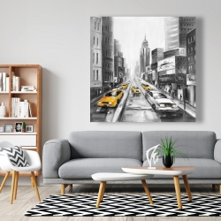 Canvas 48 x 48 - Grayscale street with yellow cars