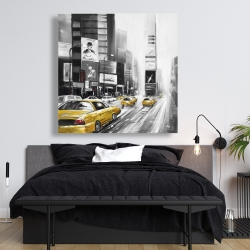 Canvas 48 x 48 - Traffic of yellow cars in a gray city